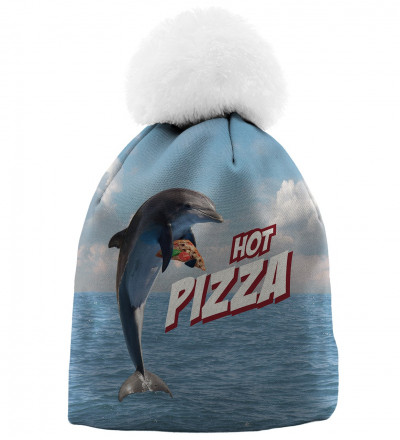blue printed beanie with dolphin and pizza motive