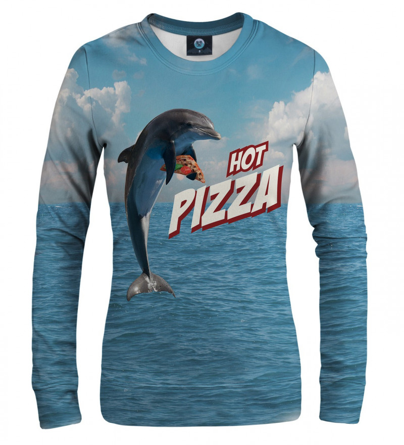 blue sweatshirt with dolphin and pizza motive