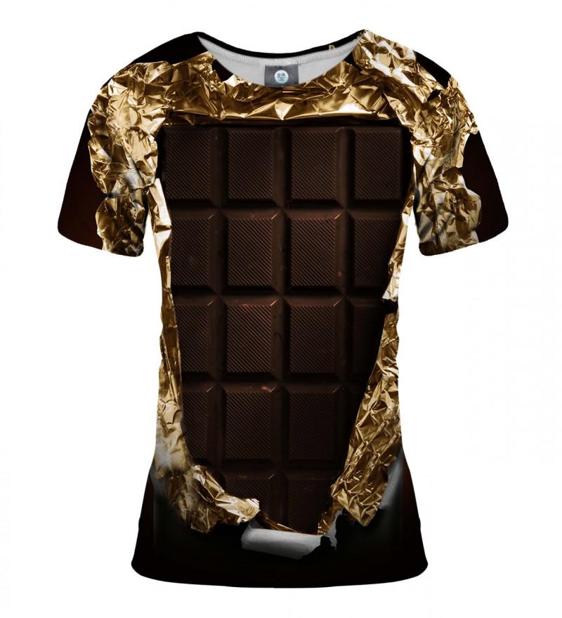 brązowa koszulka z motywem czekolady