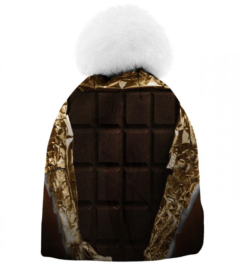 brown printed beanie with chocolate motive
