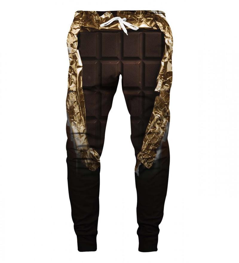brown sweatpants with chocolate motive