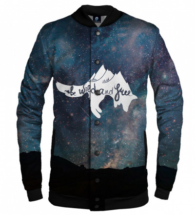 baseball jacket with stars motive and wild and free inscription