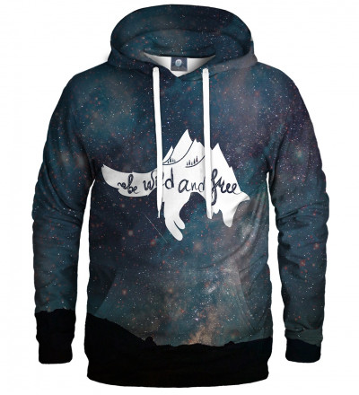 hoodie with stars motive and wild and free inscription