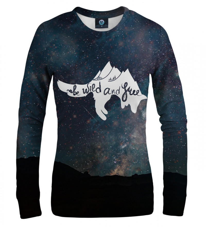 sweatshirt with stars motive and wild and free inscription