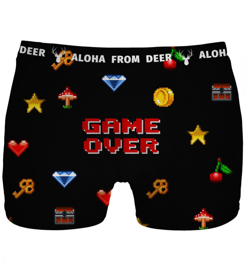 black underwear with game over over inscription