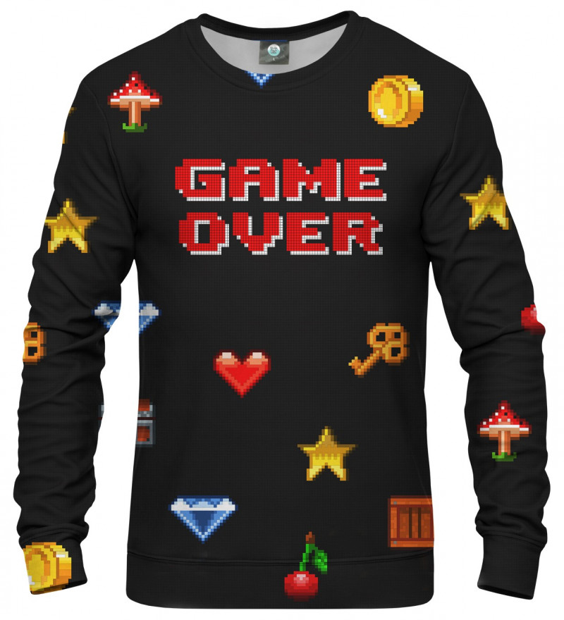 black sweatshirt with game over description