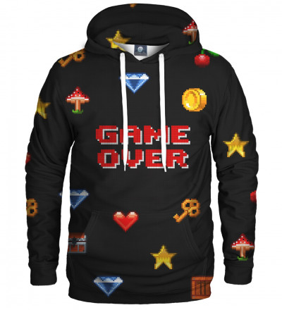 black hoodie with game over inscription