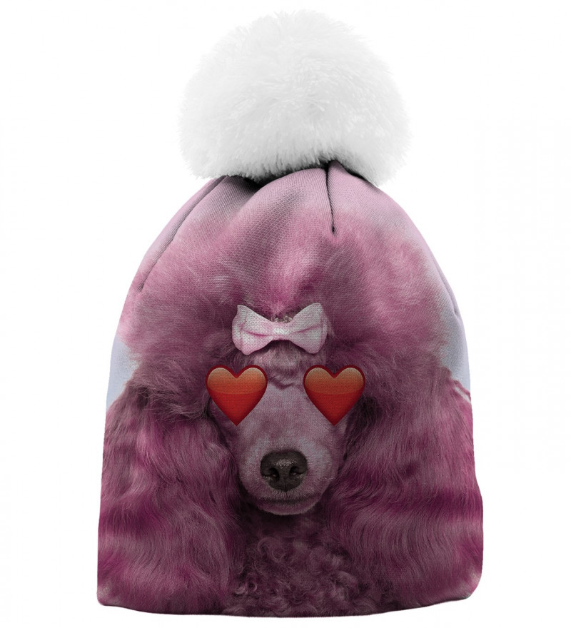 pink printed beanie with puddle motive
