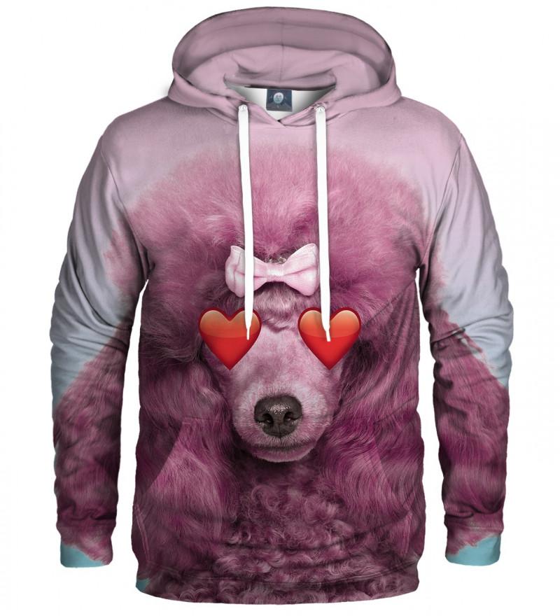 różowa bluza z kapturem z motywem pudla