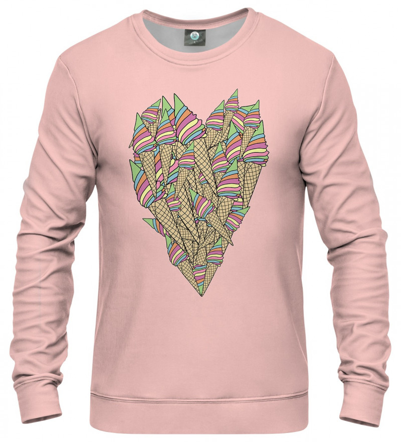 pink sweatshirt with ice-cream heart
