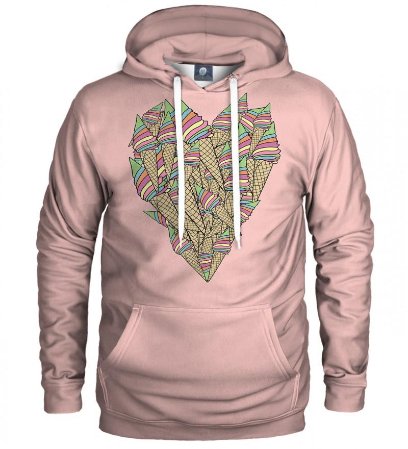 różowa bluza z kapturem z sercem stworzonym z lodów