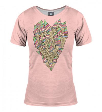 różowa koszulka z motywem serca stworzonego z lodów