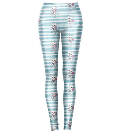 niebieskie legginsy z motywem piesków