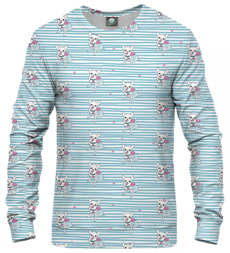 blue sweatshirt with puppies