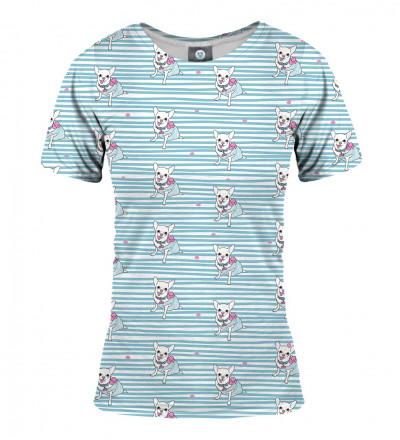 niebieska koszulka z motywem piesków