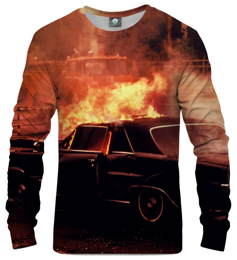 sweatshirt with car on fire