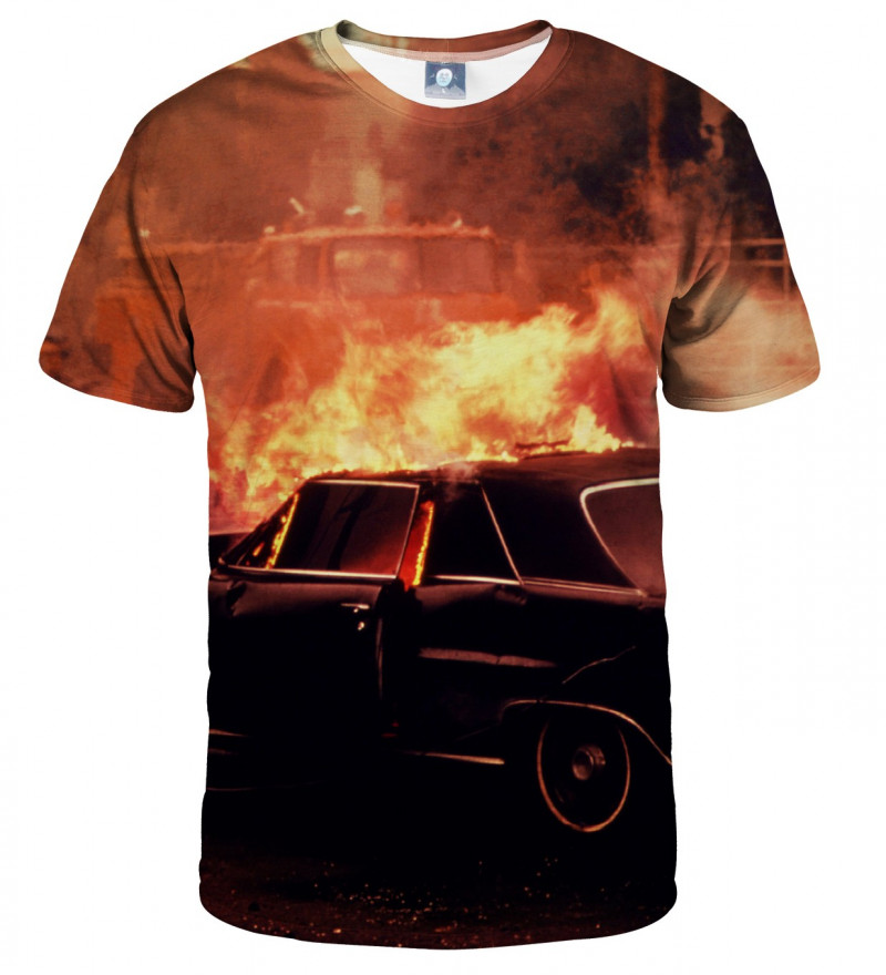 tshirt with car on fire
