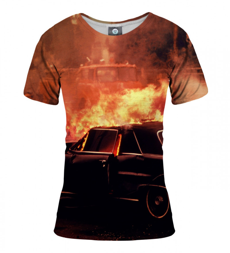 tshirt with car on fire motive