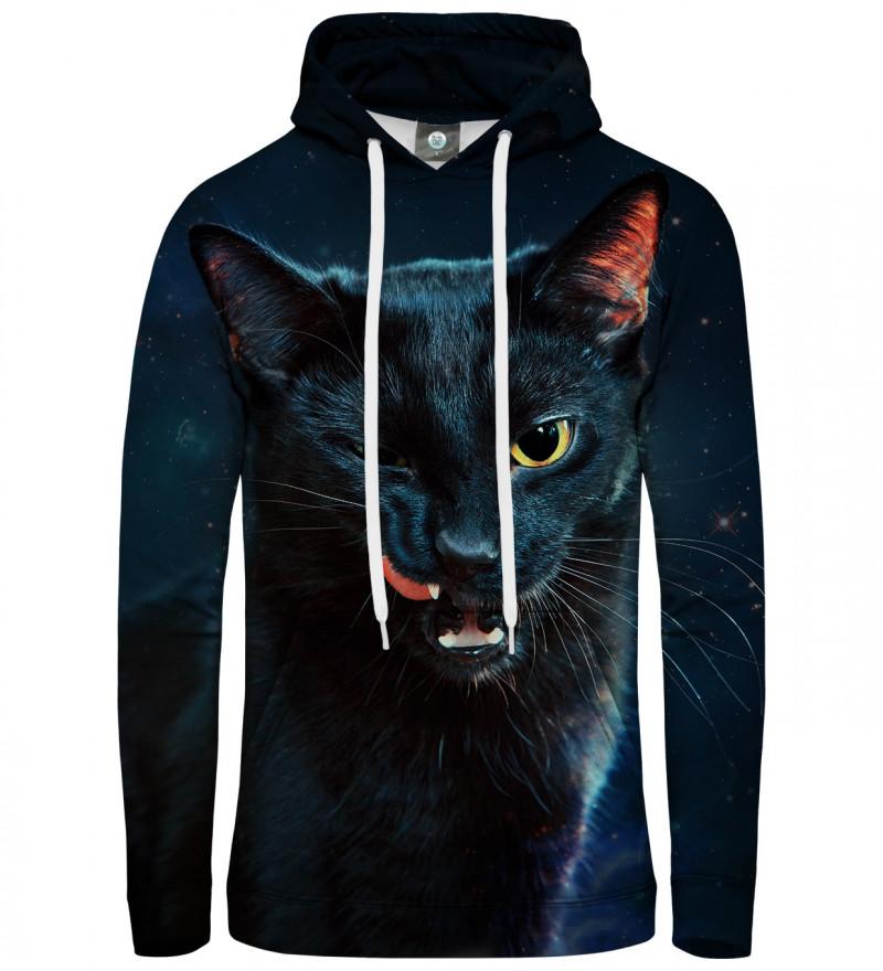 black hoodie with black cat motive
