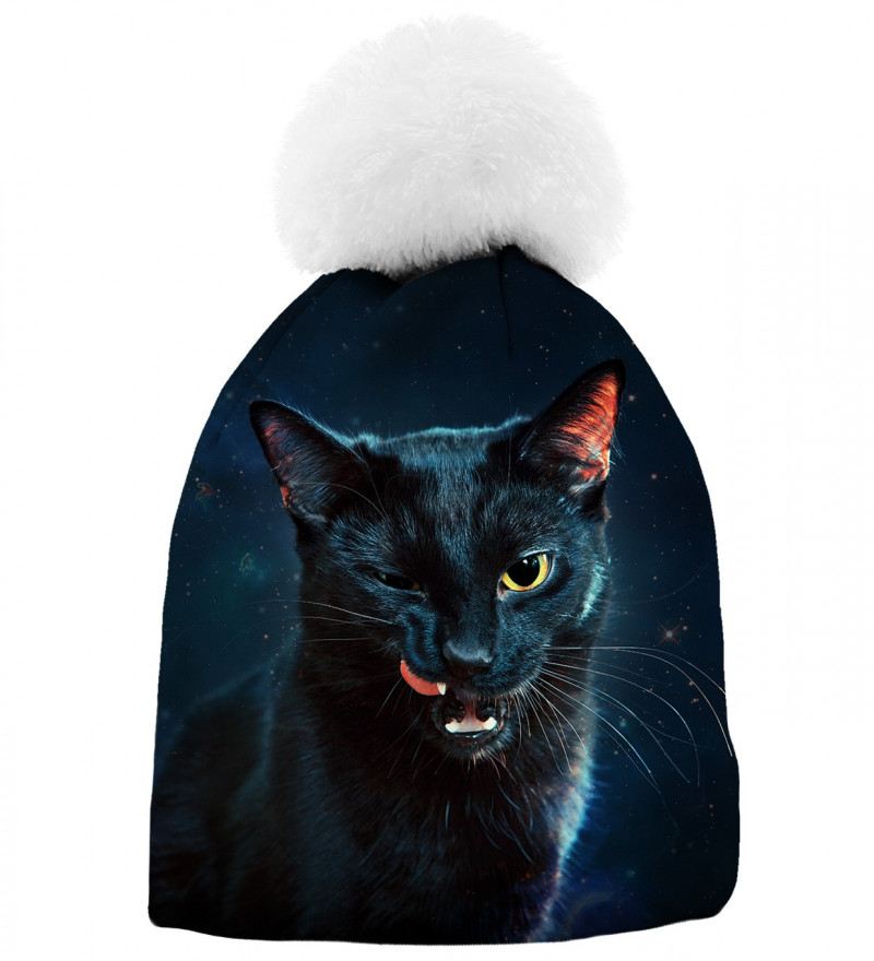 black printed beanie with black cat motive