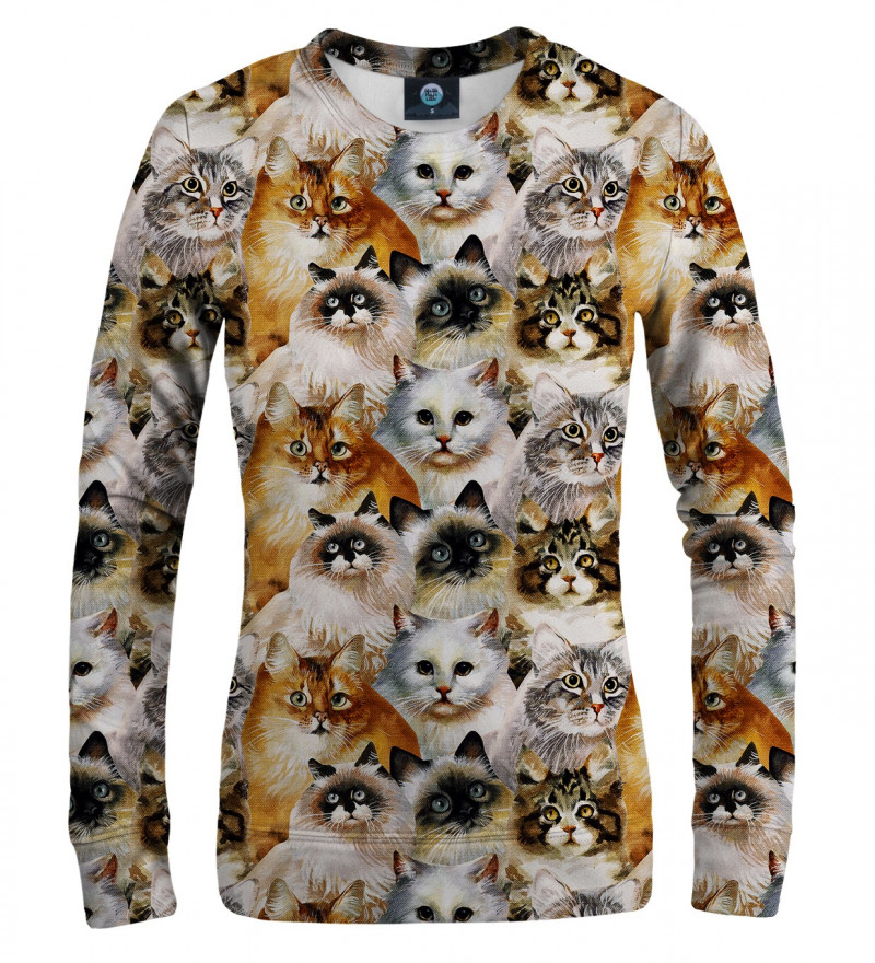 sweatshirt with cat heads motive