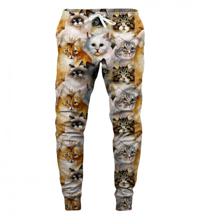sweatpants with cat heads motive