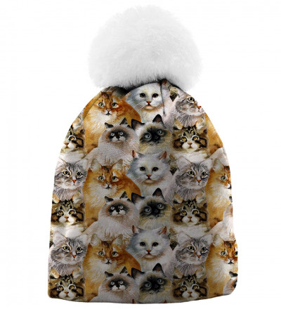 printed beanies with cat heads motive