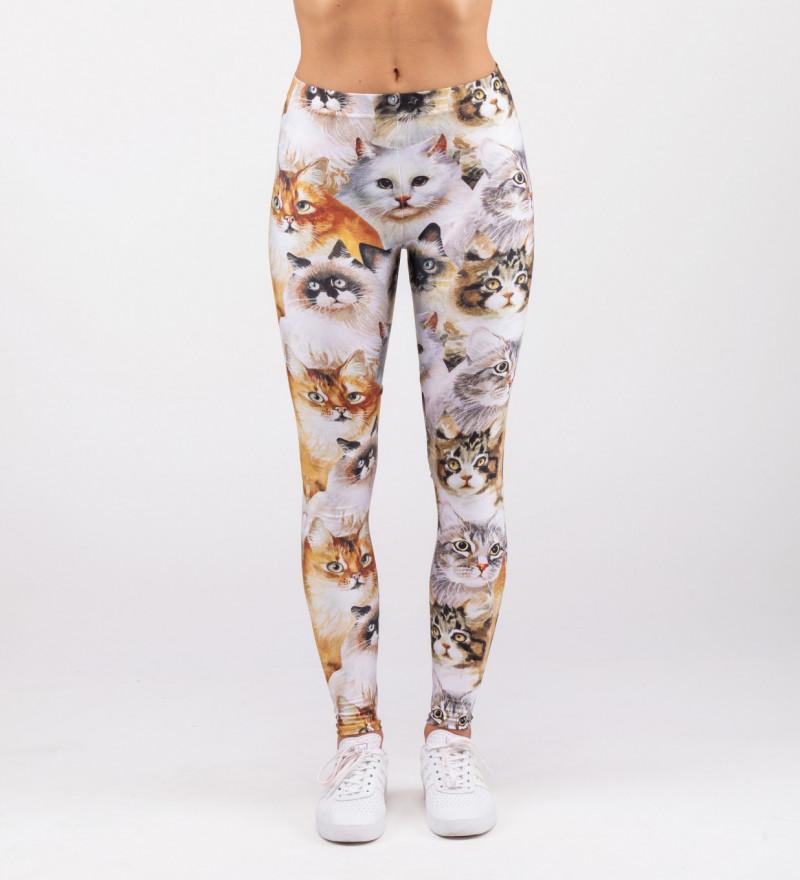 legginsy z motywem głów kotów