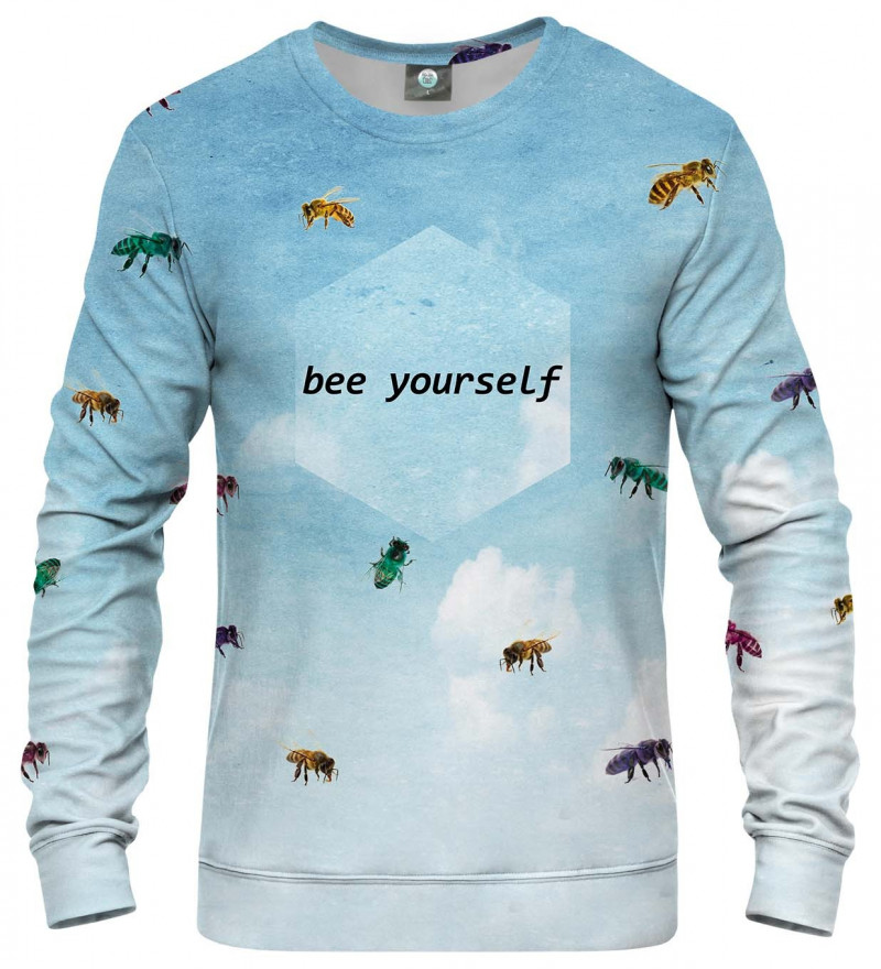 blue sweatshirt with bees motive and bee yourself inscription