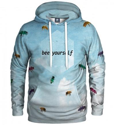 niebieska bluza z kapturem z motywem pszczół