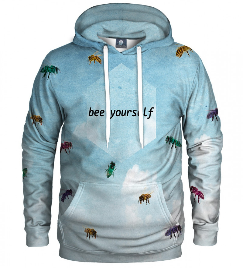 blue hoodie with bees motive