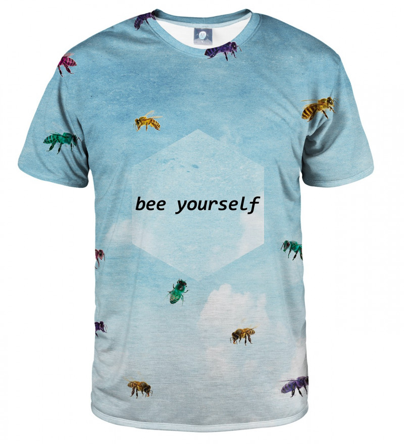 blue tshirt with bees motive