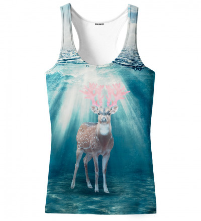 tank top with deer on the water