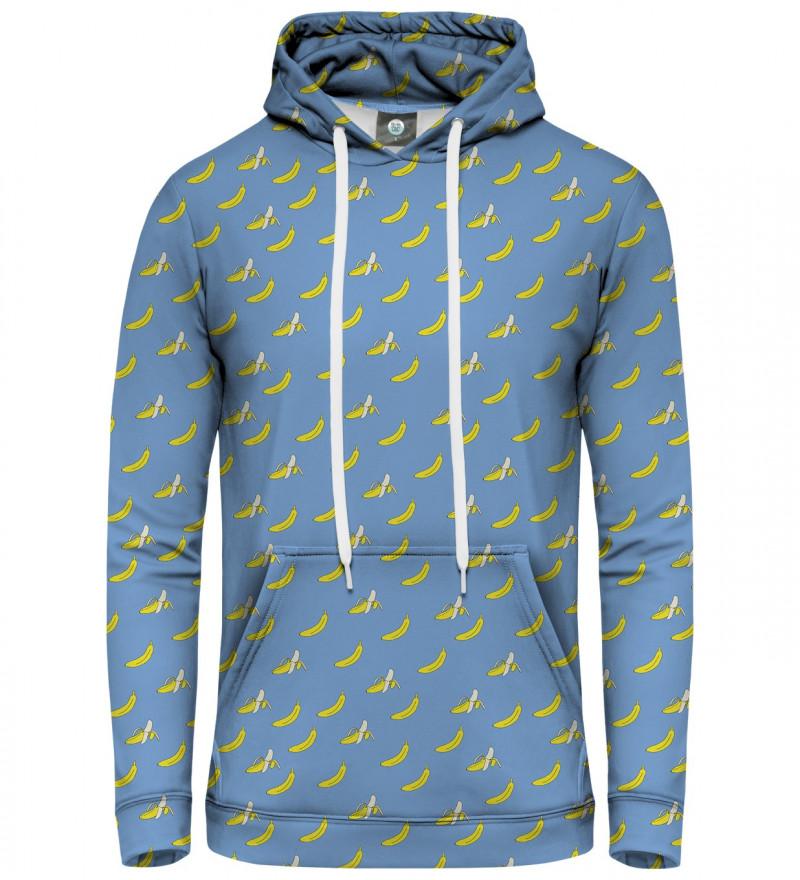 niebieska bluza z kapturem z motywem bananów