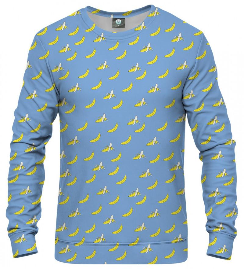 blue sweatshirt with banana motive