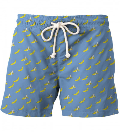 blue shorts with banana motive
