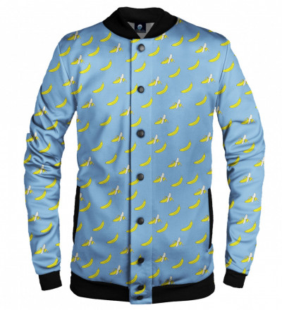 blue baseball jacket with banana motive