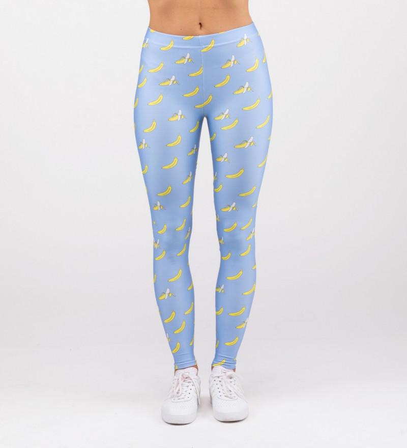 niebieskie legginsy z motywem bananów