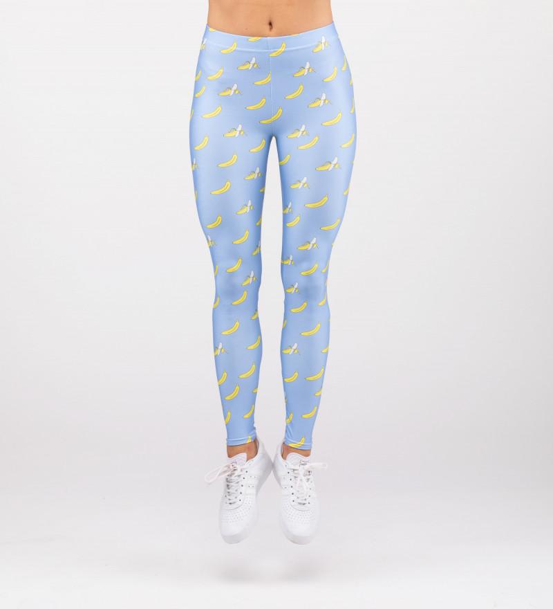 blue leggings with banana motive