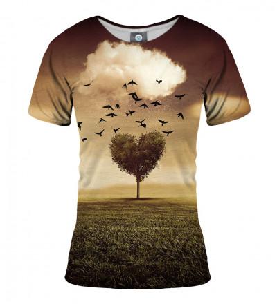 koszulka z motywem korony drzewa w kształcie serca