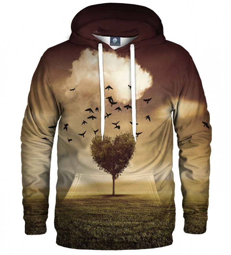 hoodie with tree heart motive