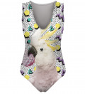 swimsuit with parrot motive