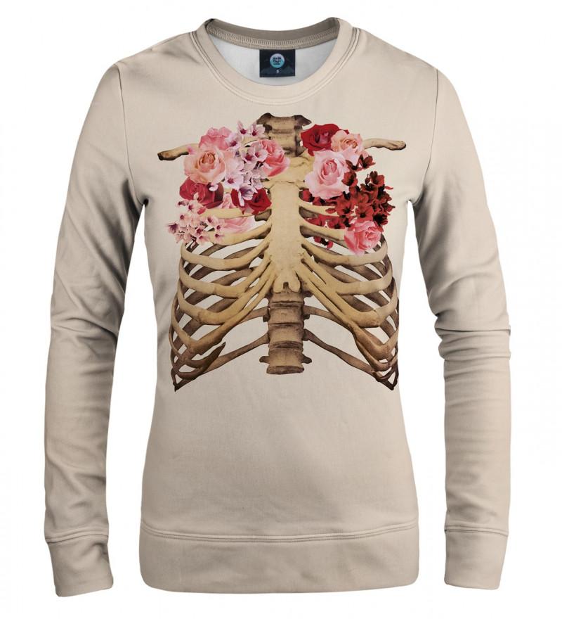 bluza z motywem szkieletu i róż