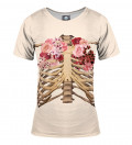 women tshirt with skeleton chest and roses