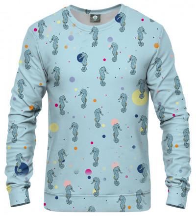 blue sweatshirt with seahorses motive