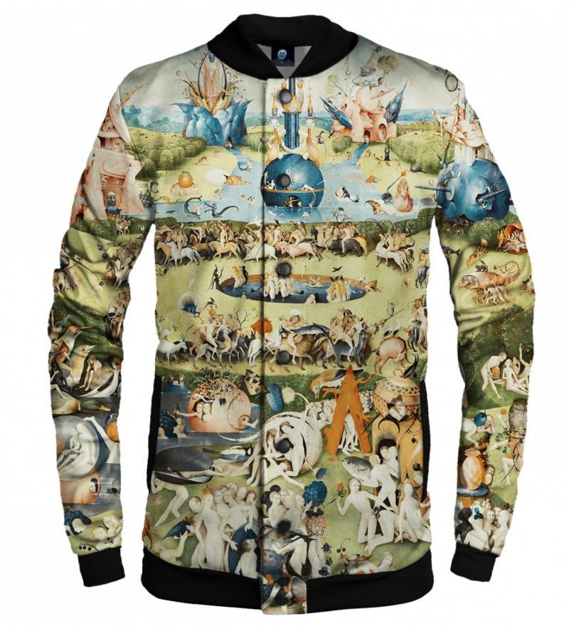 baseball jacket with garden motive, inspiration Hieronim Bosch