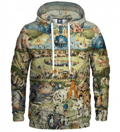 hoodie with garden motive, inspiration Hieronim Bosch