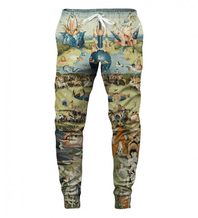 sweatpants with garden motive, inspirations Hieronim Bosch
