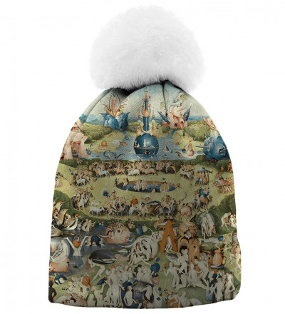 beanie with garden motive, inspiration Hieronim Bosch