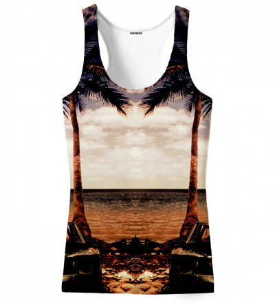 tank top with beach and palm trees motive
